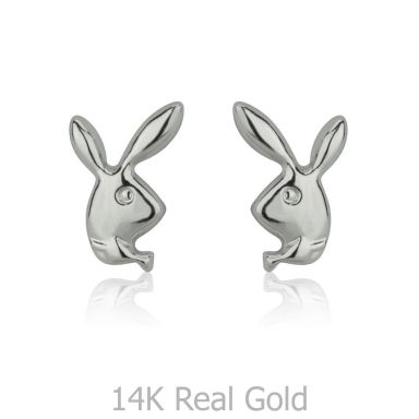 Stud Earrings in 14K White Gold - Sweet Rabbit