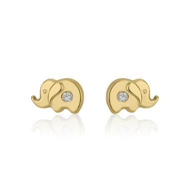 14K Yellow Gold Kid's Stud Earrings - Sparkling Elephant
