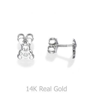Stud Earrings in 14K White Gold - Sparkling Teddy