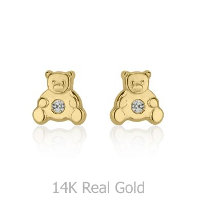 Stud Earrings in 14K Yellow Gold - Sparkling Teddy