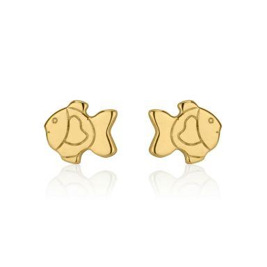 14K Yellow Gold Kid's Stud Earrings - Goldfish