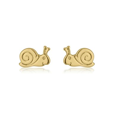 14K Yellow Gold Kid's Stud Earrings - Snail