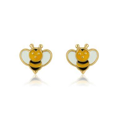 14K Yellow Gold Kid's Stud Earrings - Busy Bee
