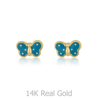 14K Yellow Gold Kid's Stud Earrings - Fluttering Butterfly
