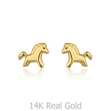 14K Yellow Gold Kid's Stud Earrings - Pony