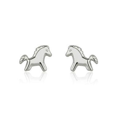 14K White Gold Kid's Stud Earrings - Pony