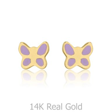 14K Yellow Gold Kid's Stud Earrings - Lilac Butterfly