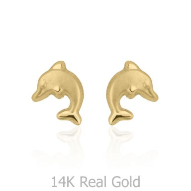14K Yellow Gold Kid's Stud Earrings - Leaping Dolphin