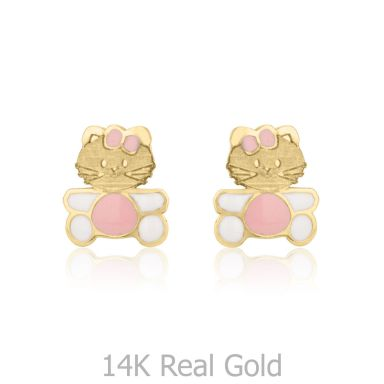 14K Yellow Gold Kid's Stud Earrings - Kitty Kat