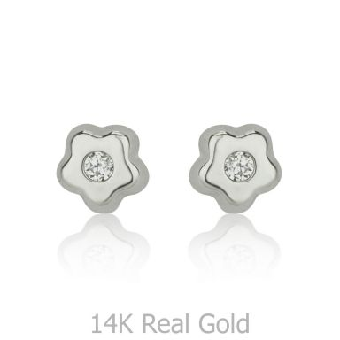 Stud Earrings in 14K White Gold - Tiny Sparkling Flower