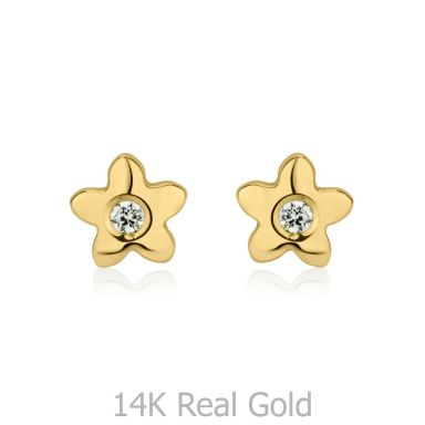 14K Yellow Gold Kid's Stud Earrings - Sparkling Flower - Yellow