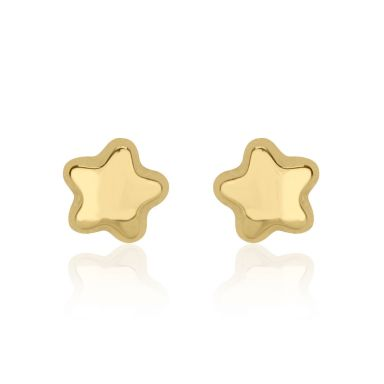 14K Yellow Gold Kid's Stud Earrings - Shining Star