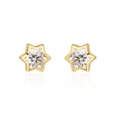 14K Yellow Gold Kid's Stud Earrings - Sparkling Star