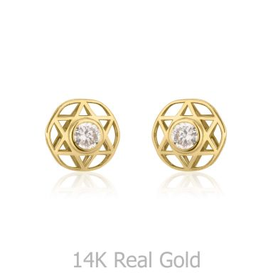 14K Yellow Gold Kid's Stud Earrings - Shooting Sparkling Star