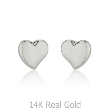 14K White Gold Kid's Stud Earrings - Classic Heart