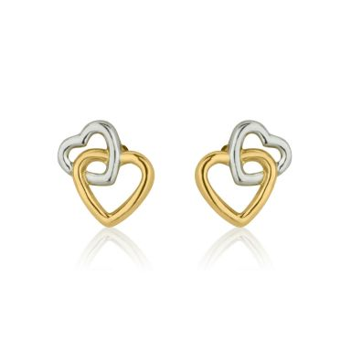 Stud Earrings in 14K White & Yellow Gold - Joined Hearts