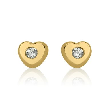 14K Yellow Gold Kid's Stud Earrings - Sparkling Heart - Small