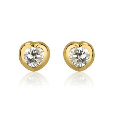 Stud Earrings in 14K Yellow Gold - Shining Heart - Small