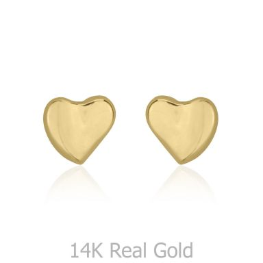 14K Yellow Gold Kid's Stud Earrings - Loving Heart