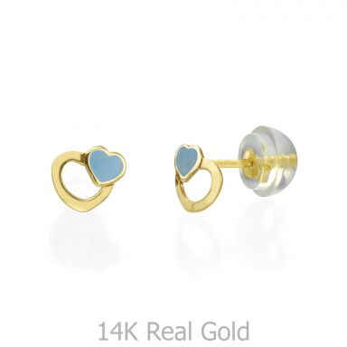 14K Yellow Gold Kid's Stud Earrings - Beloved Hearts