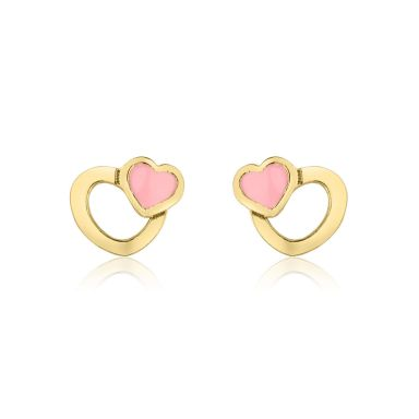 14K Yellow Gold Kid's Stud Earrings - Optimistic Hearts