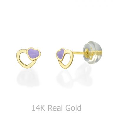 14K Yellow Gold Kid's Stud Earrings - Delighting Hearts