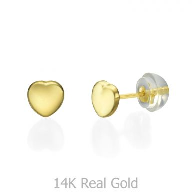 14K Yellow Gold Kid's Stud Earrings - Exciting Heart