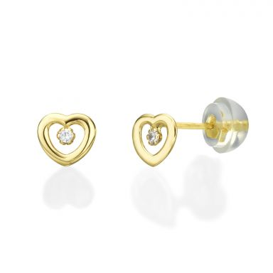 14K Yellow Gold Kid's Stud Earrings - Captivated Heart
