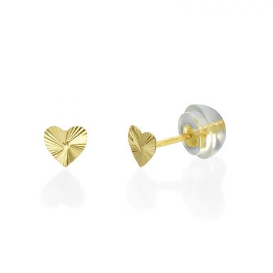 Gold Stud Earrings -  Noted Heart - Small