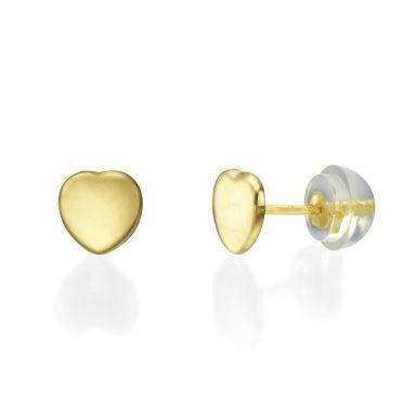 Stud Earrings in 14K Yellow Gold - Classic Plan Heart