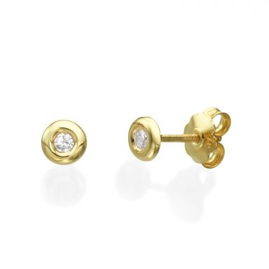 14K Yellow Gold Kid's Stud Earrings - Circle of Splendor - Large
