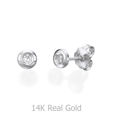 Stud Earrings in 14K White Gold - Circle of Splendor - Large