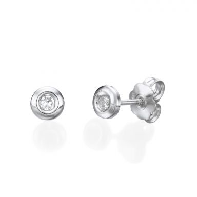 14K White Gold Kid's Stud Earrings - Circle of Splendor - Large