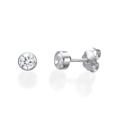 14K White Gold Kid's Stud Earrings - Circle of Splendor - Small