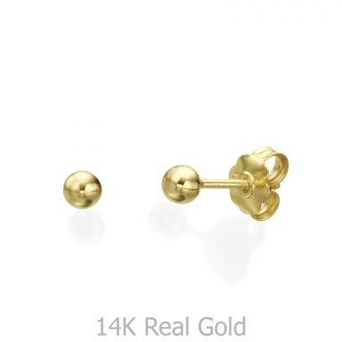 Stud Earrings in 14K Yellow Gold - Classic Circle - Small