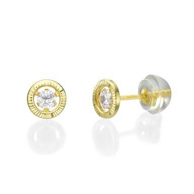 Gold Stud Earrings -  Crystal Circle
