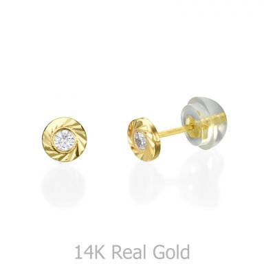 Stud Earrings in 14K Yellow Gold - Katia Circle - Small