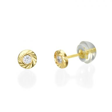 14K Yellow Gold Kid's Stud Earrings - Katia Circle - Small