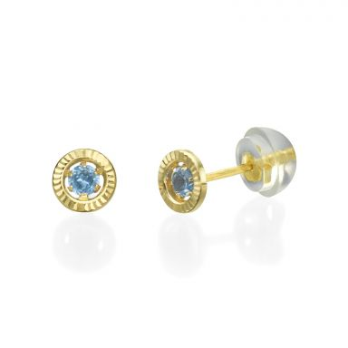 14K Yellow Gold Kid's Stud Earrings - Topaz Circle - Small