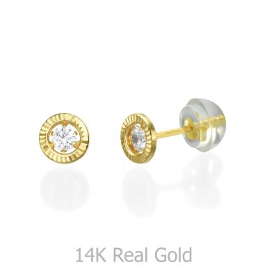 14K Yellow Gold Kid's Stud Earrings - Crystal Circle - Small