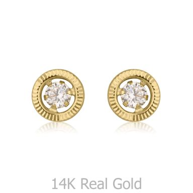 14K Yellow Gold Kid's Stud Earrings - Crystal Circle - Small
