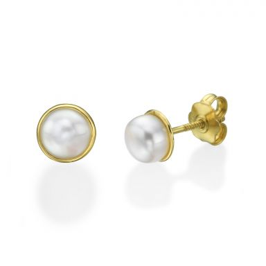 14K Yellow Gold Kid's Stud Earrings - Majestic Pearl
