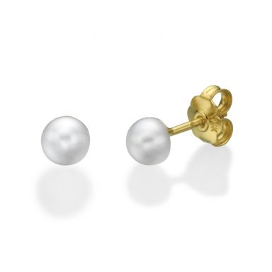 14K Yellow Gold Kid's Stud Earrings - Classic Pearl