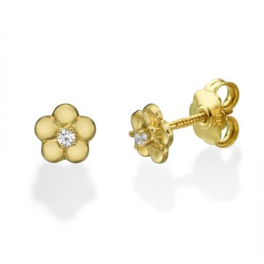 Stud Earrings in 14K Yellow Gold - Flower of Helen