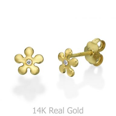 14K Yellow Gold Kid's Stud Earrings - Flower of Amy