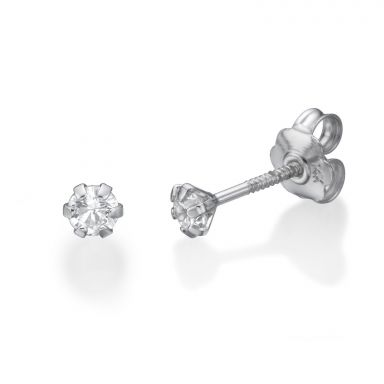 14K White Gold Kid's Stud Earrings - Flower of Alice