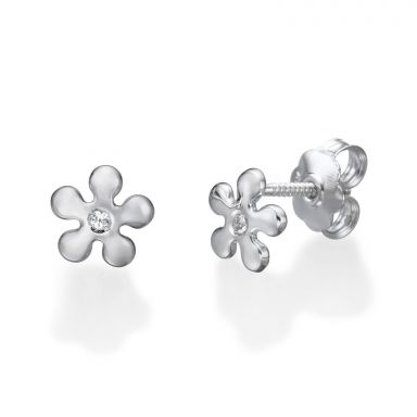 14K White Gold Kid's Stud Earrings - Flower of Michelle