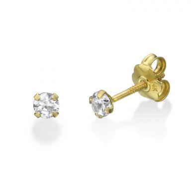 14K Yellow Gold Kid's Stud Earrings - Moulan