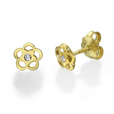 14K Yellow Gold Kid's Stud Earrings - Anette Flower