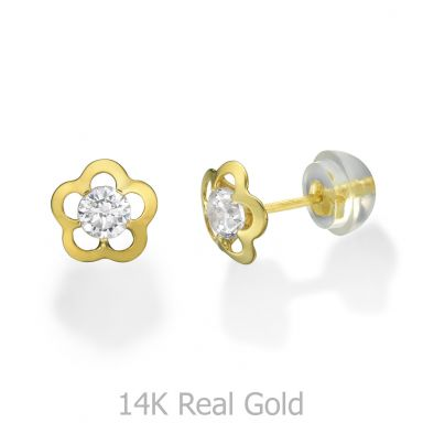 14K Yellow Gold Kid's Stud Earrings - Jasmine Flower - Large